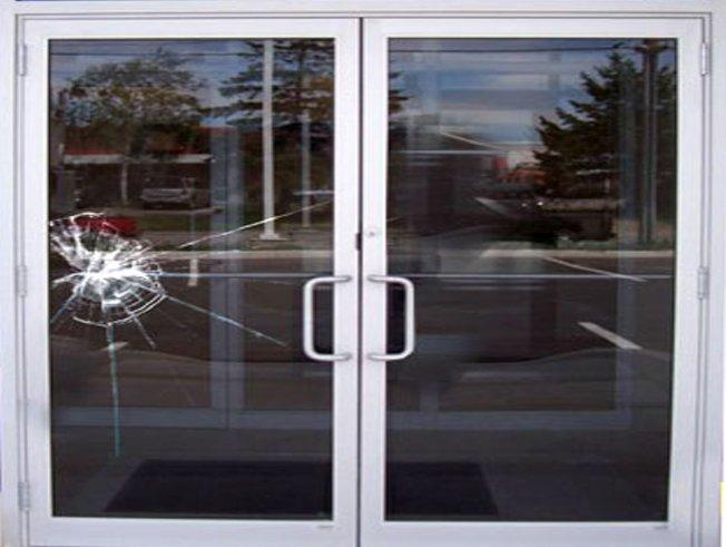 Broken aluminium commercial door