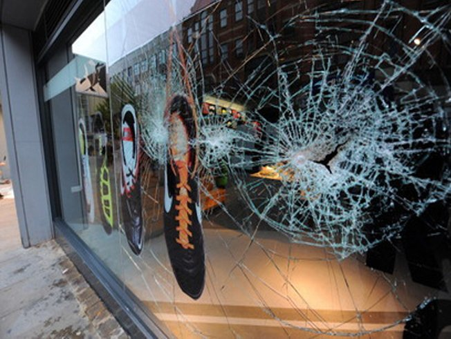 Smashed shop front window