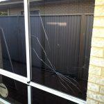 Broken aluminium window